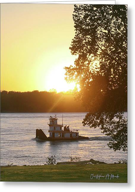 Tugboat On Mississippi River Greeting Card