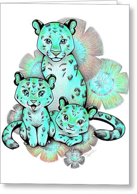 Turquoise Leopards Greeting Card