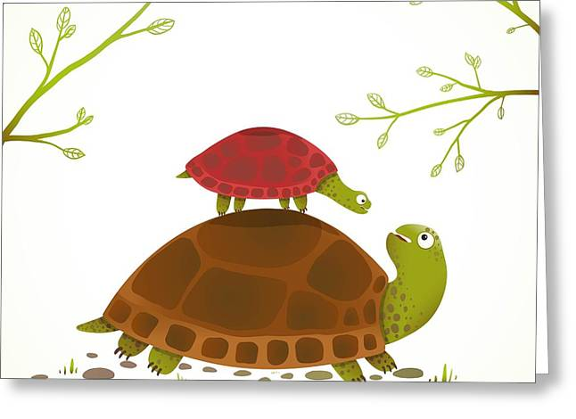 Turtle Mother And Baby Childish Animal Greeting Card
