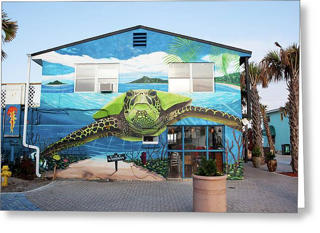 Turtle Mural In Cocoa Beach Greeting Card