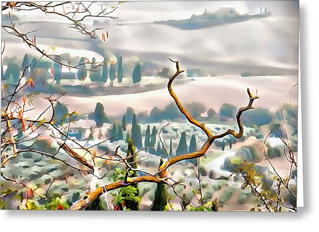 Greeting Card featuring the photograph Tuscan Autumn Landscape by Dorothy Berry-Lound