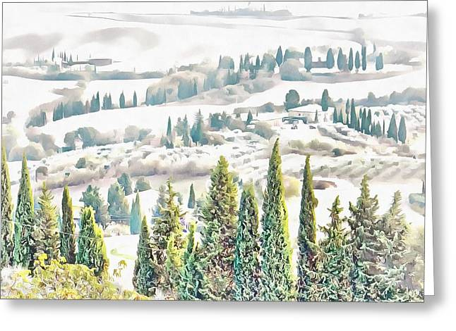 Greeting Card featuring the photograph Tuscan Countryside Near Pienza by Dorothy Berry-Lound