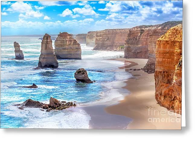 Twelve Apostles And Orange Cliffs Along Greeting Card