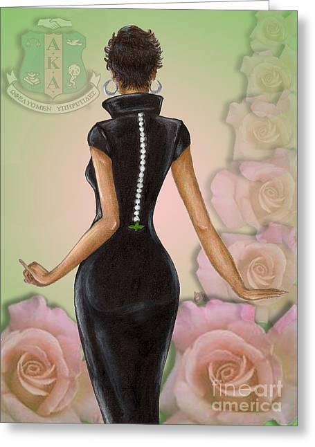 Twenty Pearls N Pink Roses Greeting Card