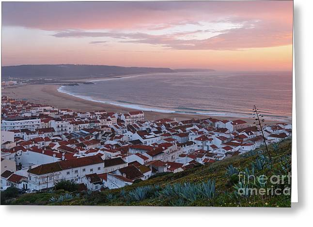 Twilight At Nazare Village Greeting Card