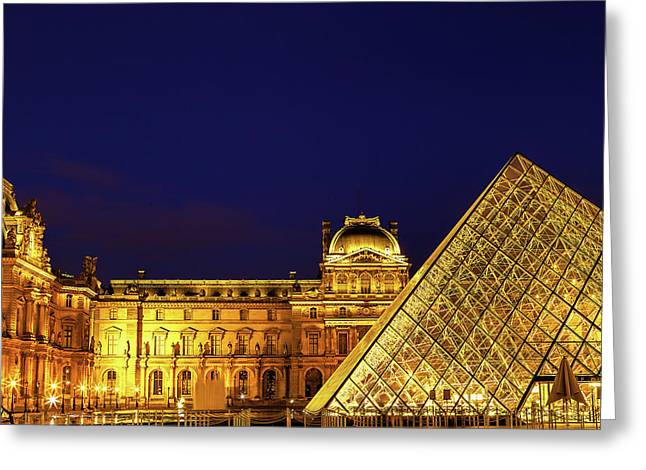 Twilight Over The Louvre Greeting Card