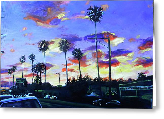 Twilight At Figueroa And 40th  Greeting Card