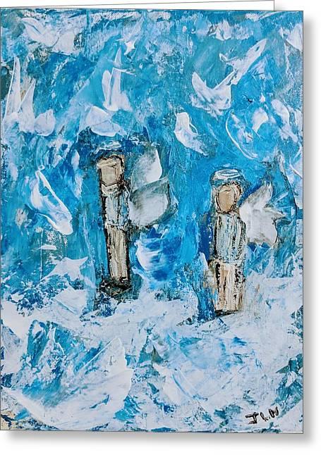Twin Boy Angels Greeting Card