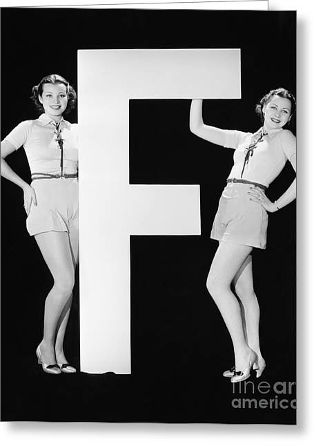 Twins With Huge Letter F Greeting Card