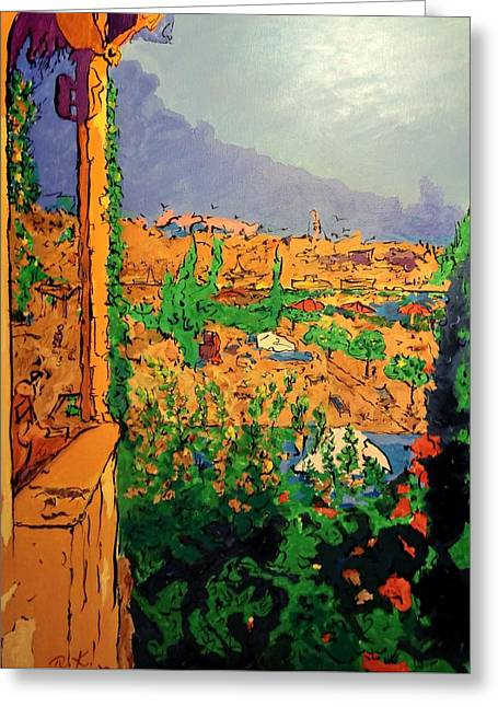 Greeting Card featuring the painting Spritz On The Terrace by Ray Khalife