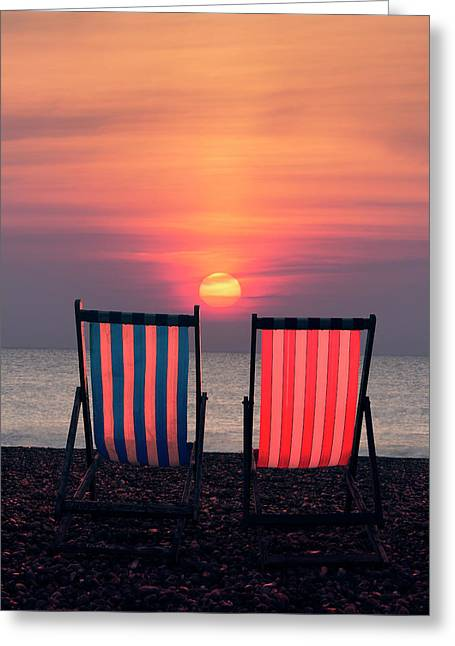 Two Deckchairs At Sunset, Beer Beach Greeting Card