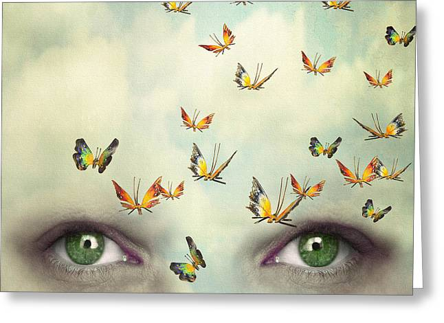 Two Eyes With The Sky And So Many Greeting Card by Valentina Photos