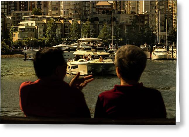 Two Friends At The Vancouver Bay Greeting Card