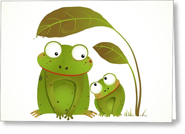 Two Frogs Mother And Baby Childish Greeting Card