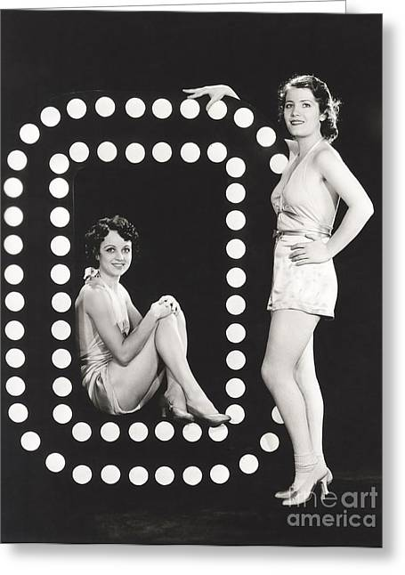 Two Models Posing By Large Letter O Greeting Card