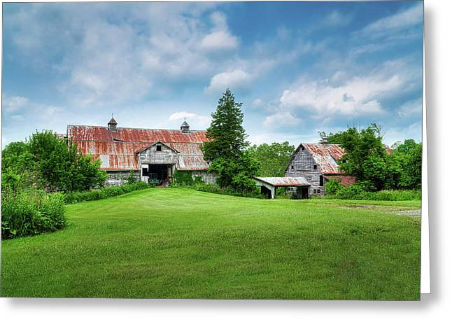 Two Old Barns Greeting Card