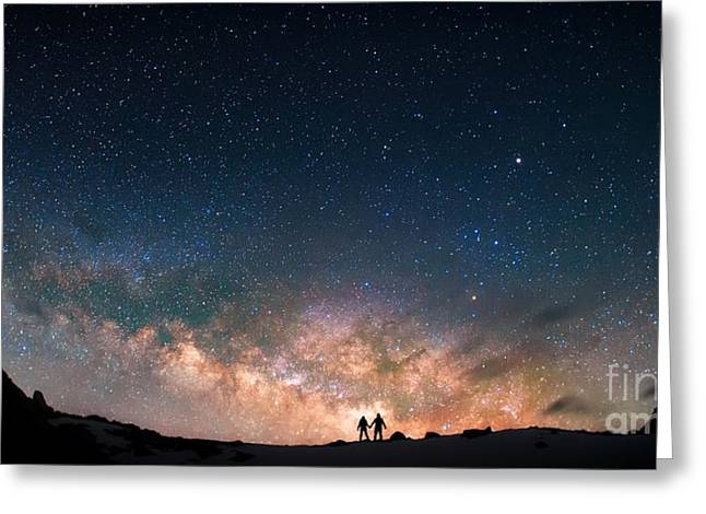 Two People Standing Together Holding Greeting Card by Anton Jankovoy