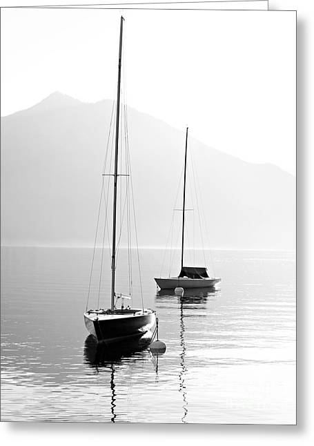 Two Sail Boats In Early Morning On The Greeting Card