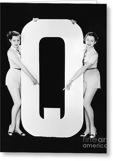 Two Women Pointing At Huge Letter Q Greeting Card