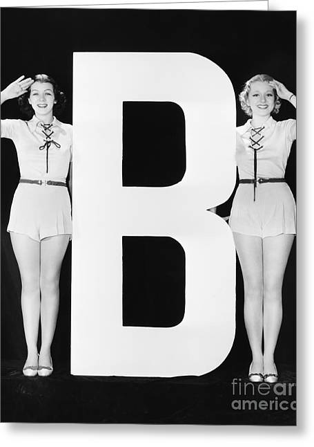 Two Women Saluting With Huge Letter B Greeting Card