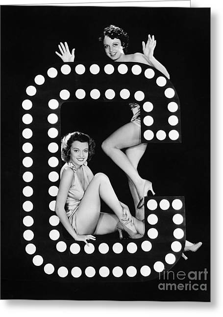 Two Young Women Posing With The Letter C Greeting Card