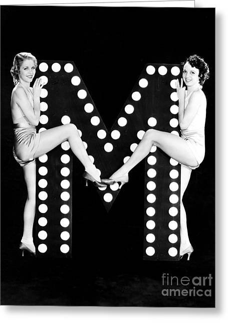 Two Young Women Posing With The Letter M Greeting Card