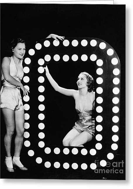 Two Young Women Posing With The Letter O Greeting Card