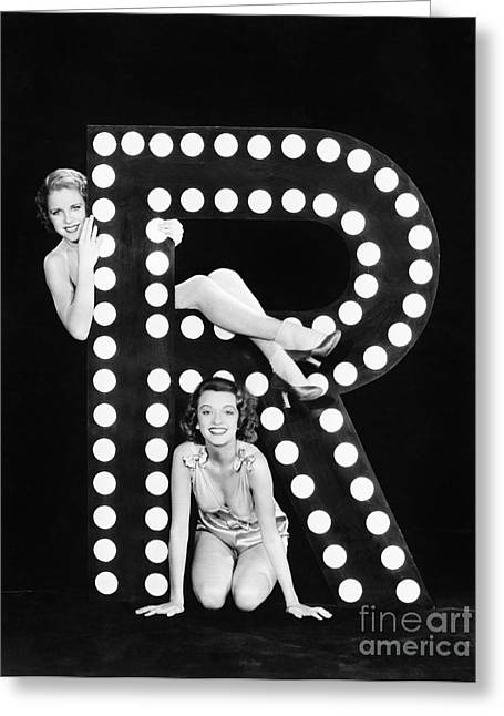 Two Young Women Posing With The Letter R Greeting Card