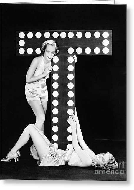 Two Young Women Posing With The Letter T Greeting Card