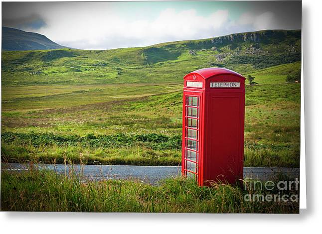 Typical Red English Telephone Box In A Rural Area Near A Road. Greeting Card