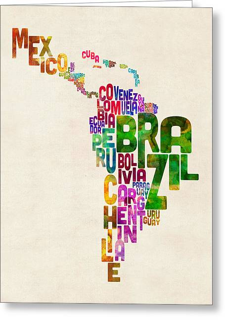 Typography Map Of Latin America, Mexico, Central And South America Greeting Card