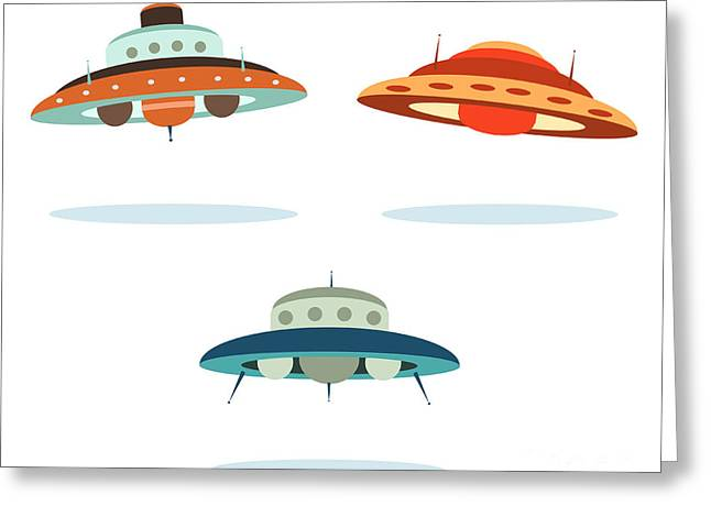 Ufo Alien Space Ships Greeting Card