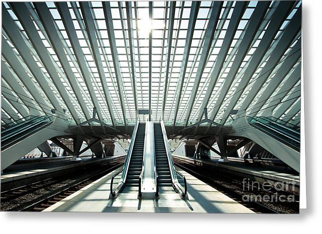 Ultra Modern Train Station In Liege Greeting Card