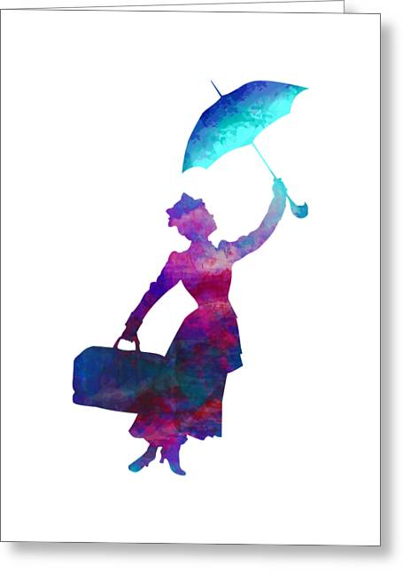 Greeting Card featuring the digital art Umbrella Lady by David Millenheft