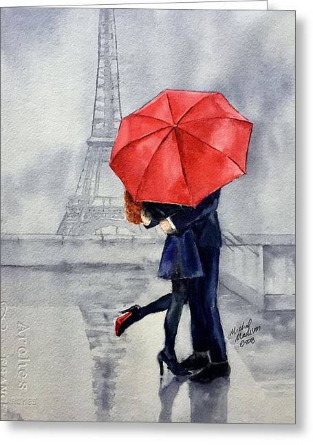 Greeting Card featuring the painting Under A Red Umbrella by Michal Madison