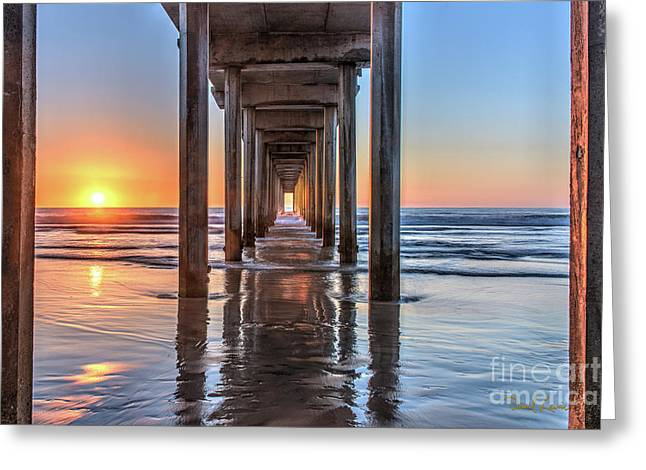 Under Scripps Pier At Sunset  ..autographed.. Greeting Card