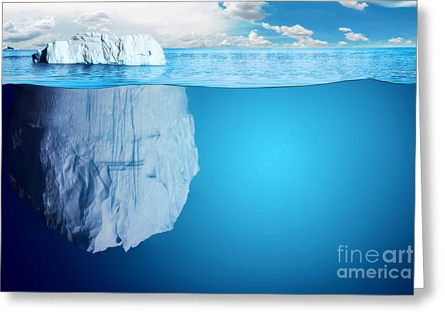 Underwater View Of Iceberg With Greeting Card by Niyazz