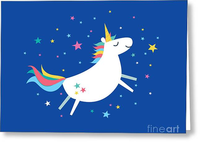 Unicorn Rainbow Vectorillustration Greeting Card