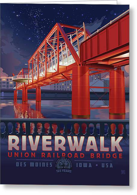 Union Railroad Bridge - Riverwalk Greeting Card