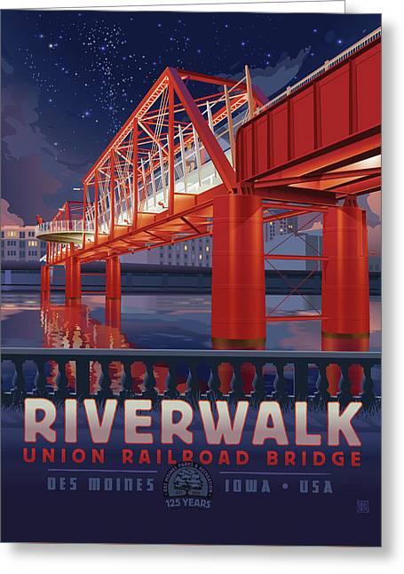 Greeting Card featuring the digital art Union Railroad Bridge - Riverwalk by Clint Hansen