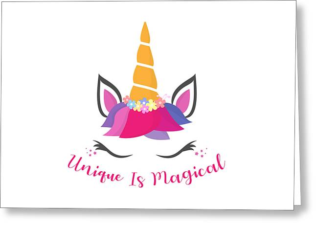 Unique Is Magical - Baby Room Nursery Art Poster Print Greeting Card