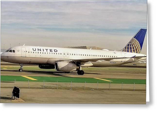 United Airline Airbus A320 At San Francisco International Airport Greeting Card
