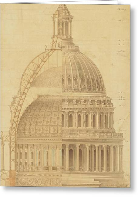 United States Capitol, Section Of Dome, 1855 Greeting Card