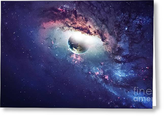 Universe Scene With Planets, Stars And Greeting Card