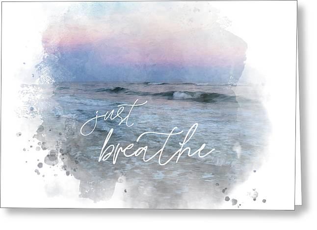Uplifting Large Square Print, Just Breathe, Beach Sunset Greeting Card