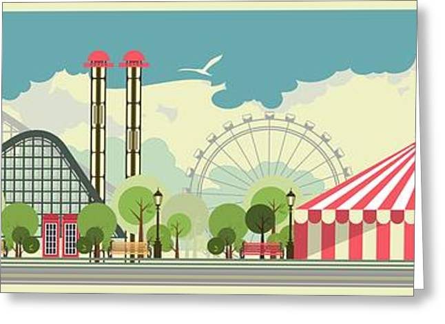 Urban Amusement Park Circus Tent Greeting Card