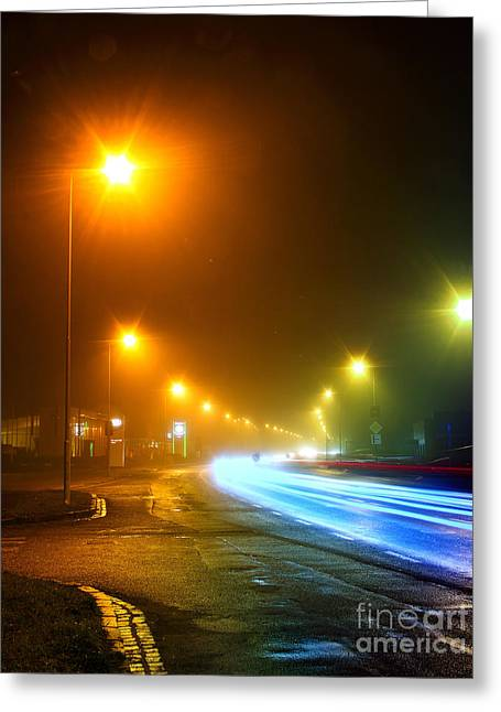 Urban City Road Long Exposure.night Greeting Card