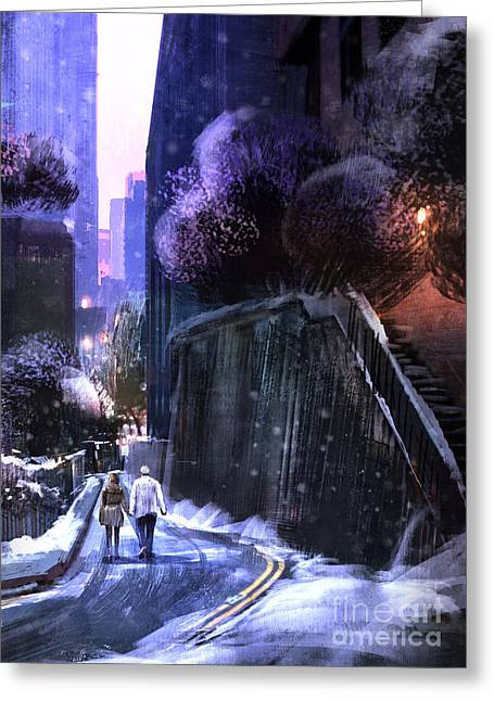 Urban Landscape With Couple Walking In Greeting Card