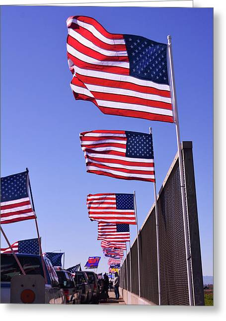 U.s. Flags, Presidents Day, Central Valley, California Greeting Card