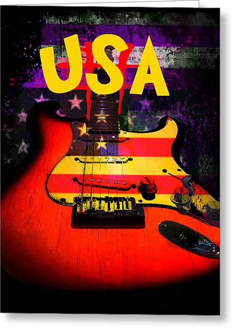 Usa Flag Guitar Purple Stars And Bars Greeting Card